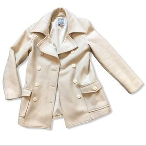Soft Brushed Classic Wool Bend Peacoat in Cream